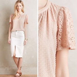 anthropologie one september cora clipdot pink top